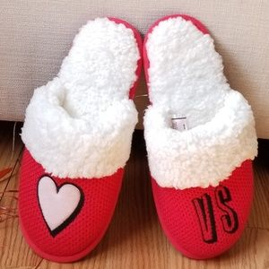 Victoria's Secret Red Embroidered Cozy Slippers M